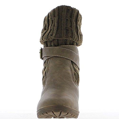 Bottines femme taupes à talons de 8,5cm et tige chaussette