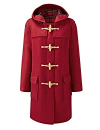 Womens Long Duffle Coat Wooden Toggle Red