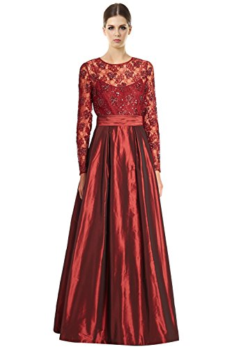 Teri Jon Embellished Bodice Long Sleeve A-Line Evening Gown Dress