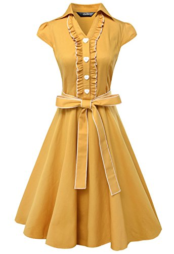 [Anni Coco Women's 1950s Cap Sleeve Swing Vintage Party Dresses Yellow XX-Large] (1950 Dress)