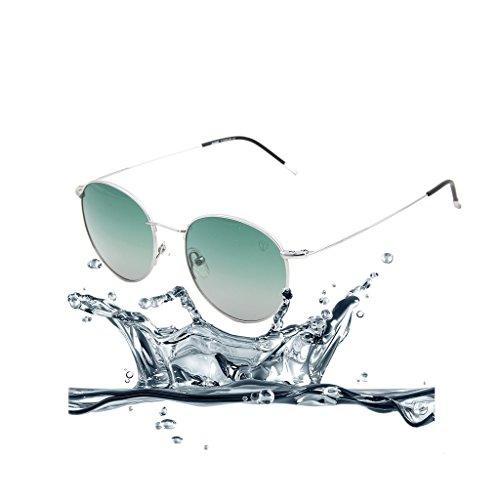 (Tacloft Titanium Sunglasses Polarized 49mm Round Metal Revo Sunglasses tl8004 (Silver frame/Grad.G15 Lens))