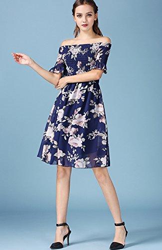 Blau ONECHANCE Navy Frauen reizvolles Knielänge Kurzschluss Kleid beiläufiges Hülsen Chiffon Blumen rWvBqrz