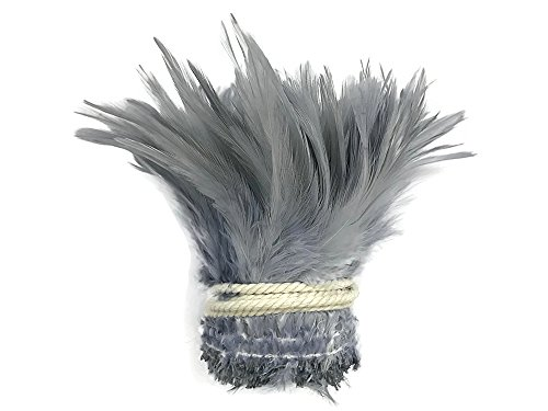Moonlight Feather | 1 Yard - Silver Grey Strung Chinese Rooster Saddle Wholesale Feathers (Bulk) Halloween, Fly Tying, Cosplay Costume -