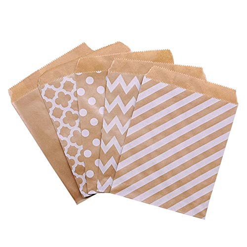 Singeru 100 Pack ECO Craft Paper Candy Bags Stripe Polka Bags Sweet Treat Cookie Snack Bags for Party Birthday Baby Shower Wedding (Clover)