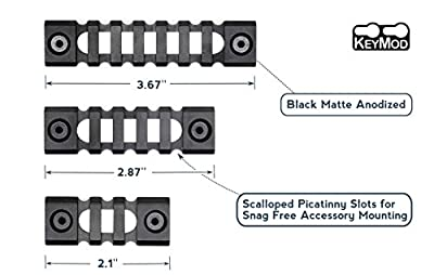 Zengi Super Lightweight Keymod Picatinny Rail Sections,Pack of 3 (3-Slot,5-Slot,7-Slot)
