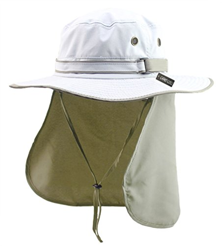 Camo Coll UPF 50+ Sun Hats with Flap Neck Cover (One Size, Off White)