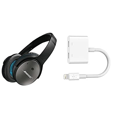 Bose QuietComfort 25 Acoustic Around-Ear Noise Cancelling Headphones for Apple Devices - Black + Belkin Lightning Audio + Charge RockStar iPhone Adapter, Splitter Enables Lightning Audio and Charging At the Same Time, MFI Certified, Compatible for iPhone
