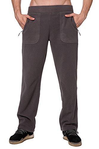 Trailside Supply Co. Men's Standard Fleece Winter Cargo Pants With Zip Pockets, Heather Grey, (Polar Fleece Pants)