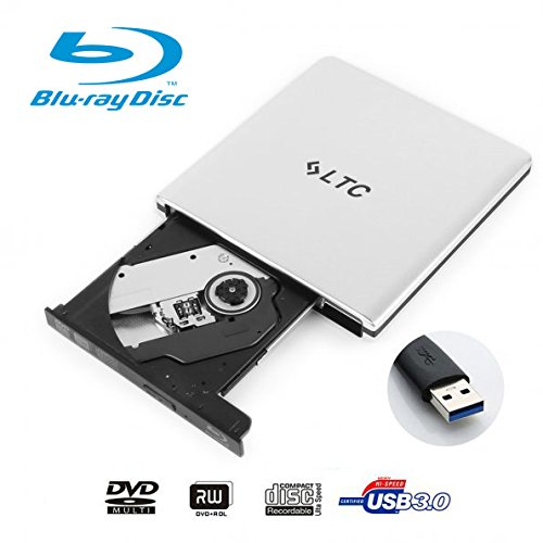 LeaningTech Upgrade Version Portable Ultra Slim External CD DVD Blu-Ray Drive, Disc Player, Writer, Burner and Super Drive for Mac, Windows, Vista, USB 3.0, Aluminum Alloy Shell (Silver)