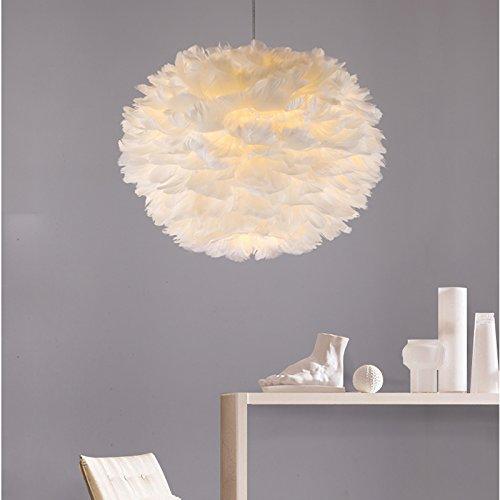 OAKLIGHTING D 21.6'' White Feather Globe Modern Chandelier Pendant Light Lamp Dining Room Haning Lighting by OAKLIGHTING