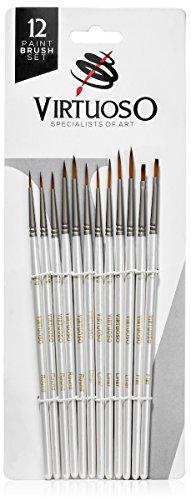 Virtuoso Premium Detail Mini Paint Brush Set - 12 Mini Paint Brushes for Art Painting - Acrylic, Watercolor, Oil