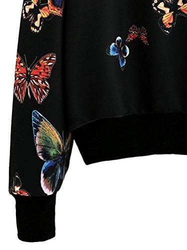 OverDose Mujeres de la mariposa de la manga larga blusa de suéteres de la camiseta Negro