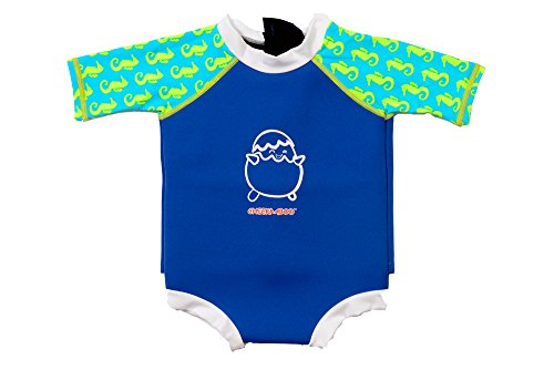 Cheekaaboo Kids' Thermal Snug Babes Swim Suit (12-18 Months, Navy Blue / Sea Horse)