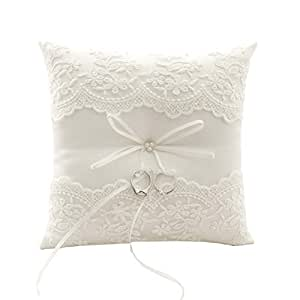 BETAULIFE Wedding Ring Pillow, Ivory Ring Bearer Pillow,Ring Bearer Cushion 8.26 Inch for Wedding Party