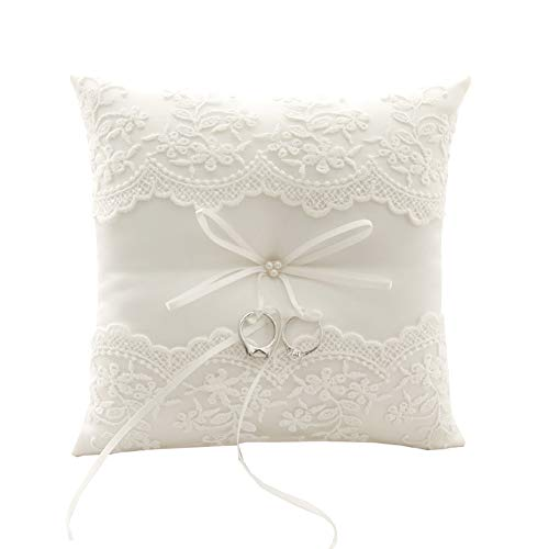 Ring Bearer Pillow, Ivory Wedding Ring Pillow,Ring Bearer Cushion 8.26 Inch For Wedding Party