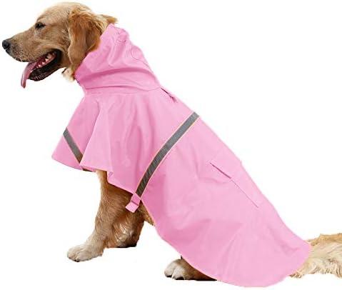 SEHOO犬のレインコート ポンチョ 柴犬 中型犬 ライフジャ ケット 小型犬 大型犬 ペット用品 雨具 防水 軽量 反射テ ープ付き (2XL, ピンク)