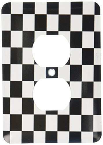 - 3dRose LLC 3dRose LLC lsp_154527_6 Check black and white pattern - checkered checked squares chess checkerboard or racing car race flag - 2 Plug Outlet Cover