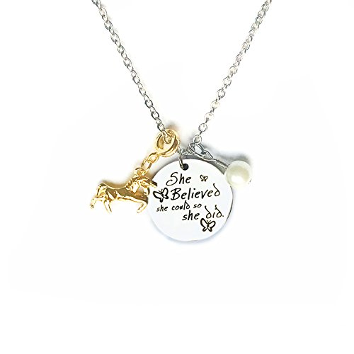 Price comparison product image Galaxia Air Inspirational Stainless Steel Unicorn And Pearl Jewelry Pendant Necklace Letter Tag Necklace for Women Girls Gift - She Believed She Could So She Did