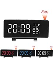 Mainstayae USB Operated 3-Color Curved LED Screen Projection Radio Alarm Clock Dimmable Thermometer Hygrometer Clock with Dual Alarms Snooze Function Dual USB Charging Ports