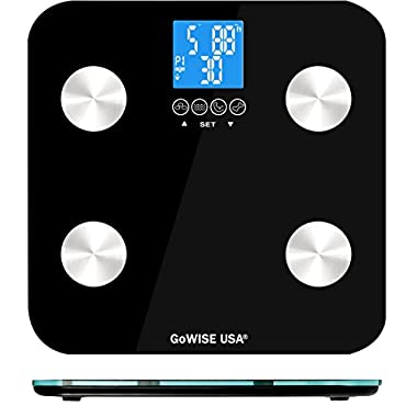 GoWISE USA Body Fat Scale with FDA approved– Measures Weight, Body Fat, Water, & Bone Mass 400 Lbs Capacity Tempered Glass (Black)