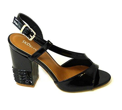 10 pour femme Sandales SKO'S Black 26583 xvqz18w