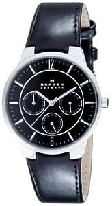 Skagen Men's 331XLSLB Steel Black Leather Multi-Function Watch