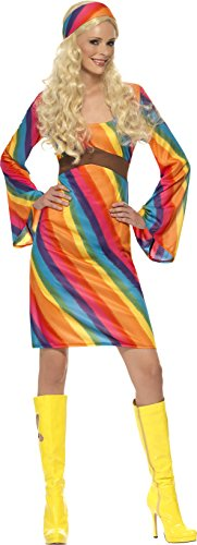 Smiffy's Women's Rainbow Hippie Costume, Dress and Headband, 70 Disco, Serious Fun, Plus Size 18-20, (70s Plus Size Fancy Dress Costumes)