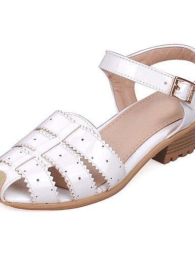 LFNLYX Zapatos de mujer-Tacón Bajo-Gladiador / Punta Redonda-Sandalias-Vestido / Casual-Cuero Patentado-Rosa / Rojo / Blanco / Plata Pink