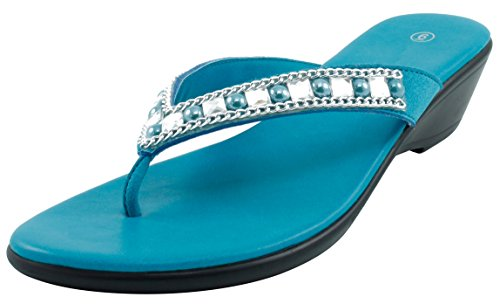 Cambridge Select Women's Studded Crystal Rhinestone Bead Chain Thong Flip-Flop Mid Wedge Sandal (9 B(M) US, Turquoise) (Blue Sandals Turquoise)