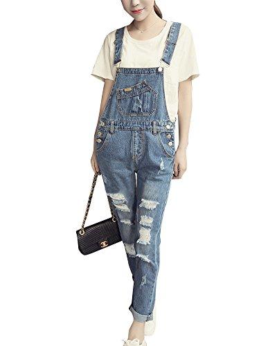 Pantalon Salopette 9055 Ripped Salopette Jeans Crayon Boutonne Grande Casual Sarouel Femme Taille YwfzqWt