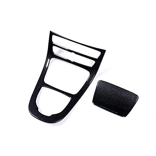 Plastic Carbon Fiber Style Console Gear Panel Cover Frame Trim 2pcs For Mercedes Benz E-Class W213 2016 2017