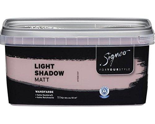 Signeo Bunte Wandfarbe, LIGHT SHADOW, Lila-Grau, matt, elegant-matte Oberflä chen, Innenfarbe, 1 Liter J.W. Ostendorf