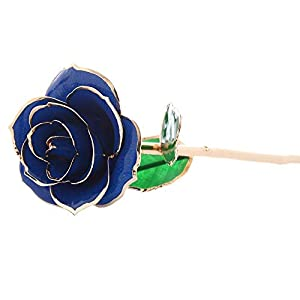 Iusun Artificial Flowers 24K Gold Dipped Real Rose Hydrangea Floral Bridal Wedding Bouquet Centerpieces Arrangements Party Festival Holiday Home Office Hanging Decorations Valentines Gift Hot (Blue) 66