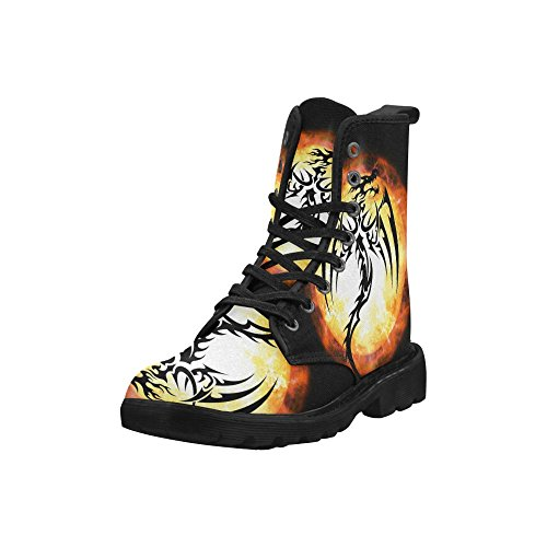InterestPrint Fashion Shoes Dragon Print Lace Up Boots For Women Black Sole uqKvz6