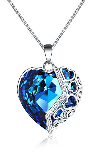 Most Popular Couples Costumes 2016 (M-Tree Womens Heart Shaped Necklace - Pretty Cute Love Necklaces with Nice Crystal Color Blue)