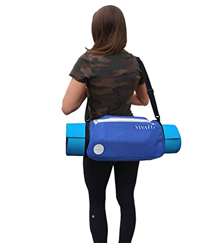 Vivafit Yoga Mat Bag crossbody carrier for all sized yoga mats. Multi purpose, waterproof sports sling with two zipper pockets that holds all essentials for a sporty and active lifestyle.