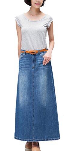 Skirt BL Women's Elegant Ripped High Waist Slim Fit Denim Blue Maxi Pencil Skirt