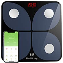 Healthkeep Scales for Body Weight, Bathroom Weight Scale Smart Wireless BMI Body Composition Monitor Health Analyzer with Smartphone App for Body Weight, Fat, Water, BMI, BMR, Muscle Mass 396 lbs