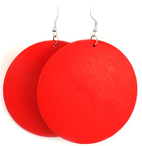 Wooden Earrings - Wood Earrings - Ethnic Earrings - Circle Earrings - Geometric Earrings (Red)