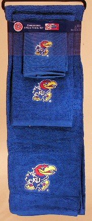 The Northwest Company Kansas Jayhawks 3 PC Embroidered Bath Towel Gift (Kansas Jayhawks Embroidered Towel)