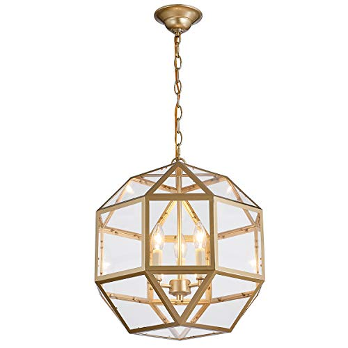 ANJIADENGSHI Round Lantern Pendant Light Industrial Vintage Lantern Iron Cage Hanging with 3 E12 Bulbs Spherical Lantern Chandelier for Traditional Dining Room Bar Cafe, Golden ()