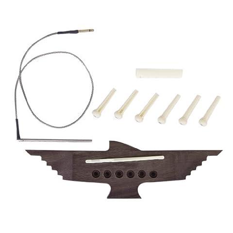 Surfing 6-String Acoustic Guitar Bridge Piezo Pickup Pins Saddle Nut Set - Acoustic Classical Guitar Bridge