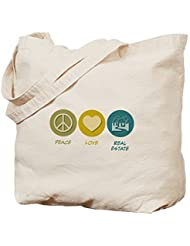 Peace Love Real Estate - Cotton Canvas Shopping Bag, Tote Bag designed by Leiacikl22
