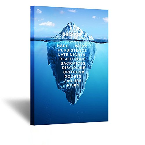 Kreative Arts Canvas Quotes Wall Art Success Inspiration Motivation Iceberg Poster Stretched Gallery Wraps Giclee Print Ready to Hang for Office and Home Decor 24x36inch by Kreative Arts