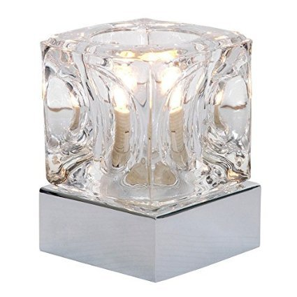 Ice Cube Glass Modern Touch Table Lamp with Chrome Base Millhouse Lighting ice cube-chrome