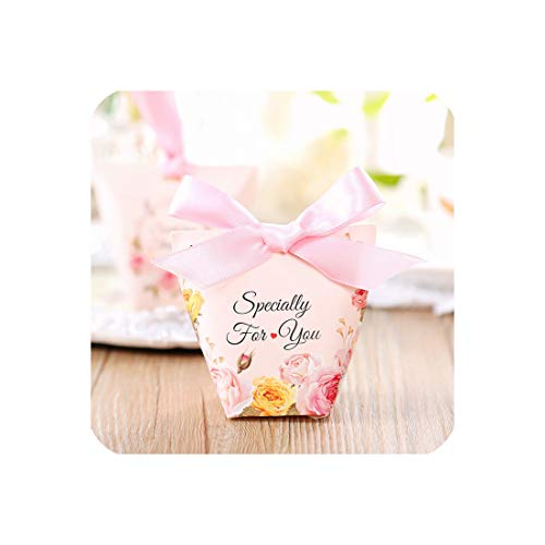 Wedding Candy Chocolate Box Wedding Candy Box with Hand Gift Box Favours Party Gift Boxes Supplies,Pink2,50 Pcs,4.5X4.8X8Cm]()