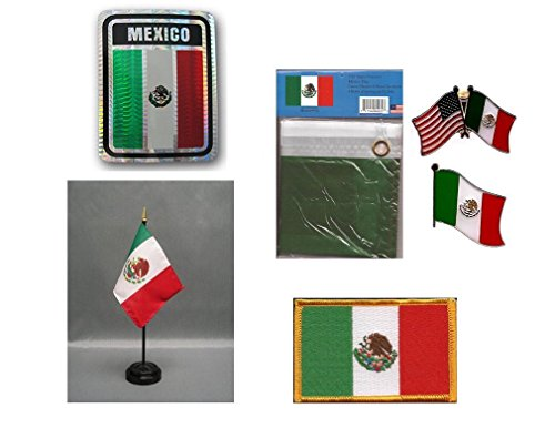 MWS Mexico Heritage Flag Set (3x5 Flag, Decal, Lapel Pins, Desk Flag & Patch) -