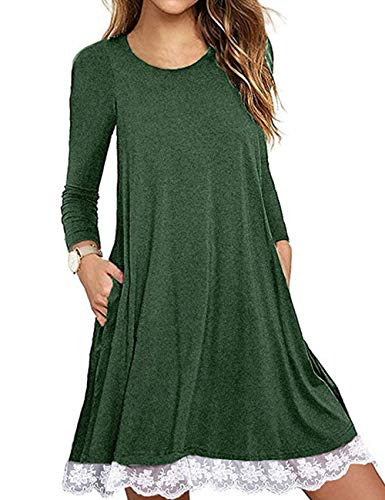 Halife Womens Loose Long Sleeve Flowy Dress with Pockets Knee Length Dress Green,XL