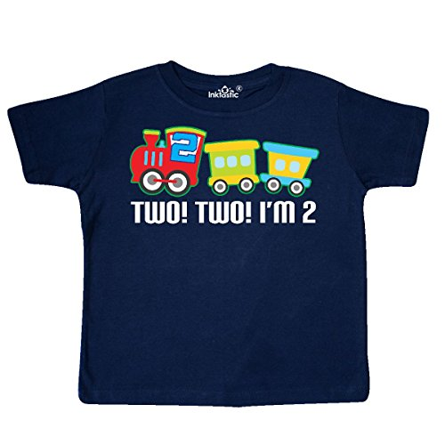 inktastic - 2nd Birthday Two Two Train Outfit Toddler T-Shirt 2T Navy Blue 257f6 from inktastic