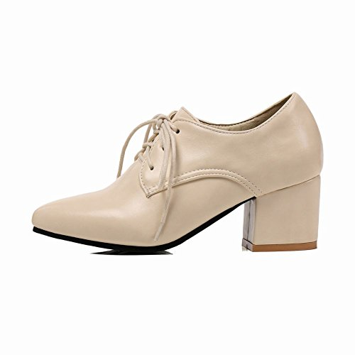 Beige Lace Court Shoes Mid Up Mee Women's Heel Shoes Work H6ZtzqnS